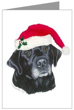 Black Lab With Santa Hat Christmas Cards Labrador Retriever